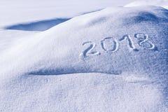 Jahr 2018 auf Schnee Stockbild