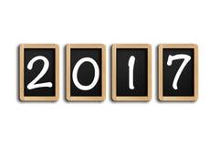 Jahr 2017 auf Tafel mit weißem Hintergrund Lizenzfreies Stockbild