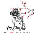 Jahr der Hund-sumi-e Grußkarte Stockbild