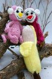 Jahr des Affen, gestricktes Spielzeug, Symbol, handgemacht Lizenzfreies Stockfoto