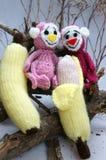Jahr des Affen, gestricktes Spielzeug, Symbol, handgemacht Lizenzfreie Stockbilder