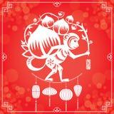 Jahr des Affen im roten Hintergrund Stockfotos