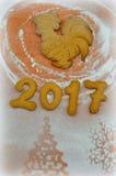 Jahr des Hahns Plätzchen 2017 des neuen Jahres Stockfoto