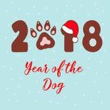 Jahr des Hundes 2018 Vektorschablone neues Jahr ` s Design auf dem chinesischen Kalender Stockbild