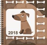 Jahr des Hundes Wandkalender für 2018 von Sonntag bis Samstag Stockfoto