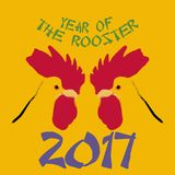Jahr des minimalistic Konzeptes der chinesischen Astrologie des Vektors des Hahns 2017 Stockfotos