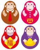 Jahr des russischen Puppensatzes des Affen Stockbilder