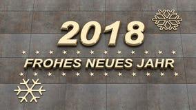 Jahr dos neues de Frohes, ano novo feliz no illustra do idioma alemão 3d Imagens de Stock