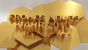 Jahr dos neues de Frohes, ano novo feliz no illustra do idioma alemão 3d Fotos de Stock