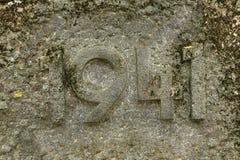 Jahr 1941 geschnitzt im Stein Die Jahre des Zweiten Weltkrieges Lizenzfreie Stockfotos