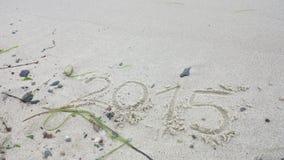 Jahr 2015 geschrieben in den Sand Lizenzfreie Stockfotografie