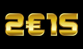 Jahr 2015, goldene Zahlen mit Eurowährungszeichen Lizenzfreie Stockfotografie