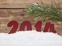 Jahr 2014 im frischen Schnee Stockfotografie