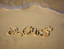 Jahr 2015 im Strandsand Stockfoto
