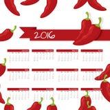 Jahr-Kalender-Paprika Lizenzfreies Stockfoto