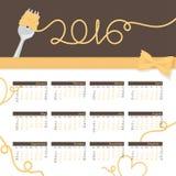 Jahr-Kalender-Spaghettis Stockbild