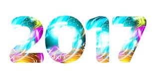 Jahr-Licht-Glanzsymbolneoncharaktervektor Lizenzfreie Stockfotos