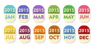 Jahr 2015 mit zwölf Monaten Aufklebern Lizenzfreie Stockbilder
