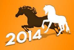 Jahr Orange der Pferd 2014 stock abbildung