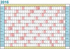 Jahr-Planer 2016 linear mit gesetzlichen Feiertagen für USA Stockbilder