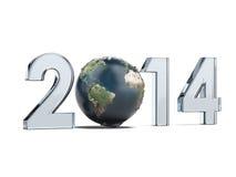 Jahr 2014 und Erde als null Stockbilder
