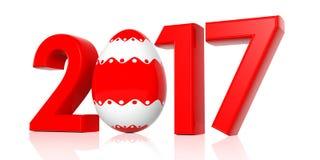 Jahr 2017 und Osterei auf weißem Hintergrund Abbildung 3D Lizenzfreie Abbildung