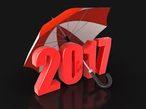 Jahr 2017 unter Regenschirm Stockfotografie