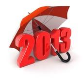 Jahr 2013 unter Regenschirm (Beschneidungspfad eingeschlossen) Lizenzfreie Abbildung