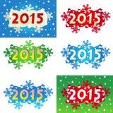 Jahr 2015 verzierte Überschriften oder Fahnen Stockbilder