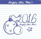 Jahr von 2007 Illustration für das neue Jahr - Skizze auf Schulnotizbuch Lizenzfreie Stockfotos