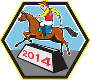 Jahr von Pferde-Jockey 2014 Jumping Cartoon Stockfoto