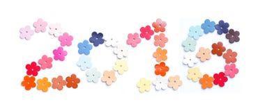 Jahr 2016, Zahldesign mit bunter lederner Blume formte an Stockfotografie