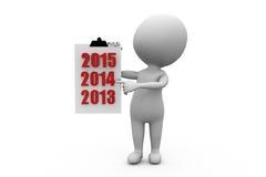Jahr zuvor-Listenkonzept des Mannes 3d Lizenzfreies Stockfoto