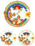 Jahrborduhr mit vier Jahreszeiten Stockbilder