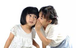 5 Jahre alte asiatische Mädchen, die zu heryounger Schwester lokalisiert flüstern Lizenzfreie Stockfotos