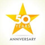 50 Jahre alte feiernde Sternlogo Lizenzfreie Stockfotos