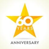 60 Jahre alte feiernde Sternlogo stock abbildung