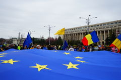 60 Jahre des Jahrestages der Europäischen Gemeinschaft, Bukarest, Rumänien Stockfotografie