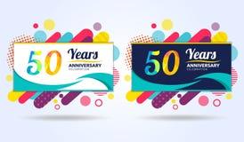 50 Jahre des Jahrestages mit modernen quadratischen Gestaltungselementen, bunte Ausgabe, Feierschablonenentwurf, Knallfeierschabl lizenzfreie abbildung