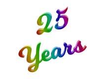 25 Jahre des Jahrestags-, Feiertag kalligraphisches 3D machten Text-Illustration gefärbt mit RGB-Regenbogen-Steigung lizenzfreie abbildung