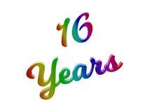 16 Jahre des Jahrestags-, Feiertag kalligraphisches 3D machten Text-Illustration gefärbt mit RGB-Regenbogen-Steigung Lizenzfreie Stockfotos