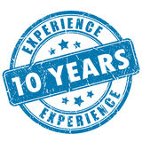 10 Jahre Erfahrungsstempel Stockbild