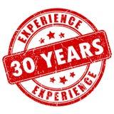 30 Jahre Erfahrungsstempel Lizenzfreie Stockfotos