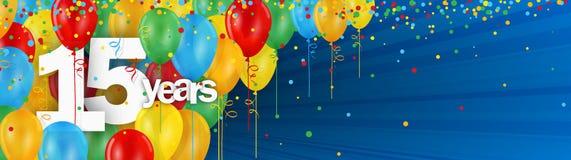 15 Jahre Fahnenkarte mit bunten Ballonen und Konfettis Vektor Abbildung
