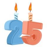 25 Jahre Geburtstag Zahl mit festlicher Kerze für Feiertagskuchen Lizenzfreies Stockbild