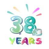 38 Jahre Geburtstags-Feiergrußkarte Lizenzfreie Stockbilder