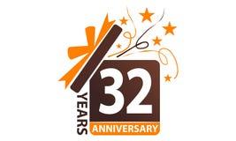 32 Jahre Geschenkbox-Band-Jahrestags- vektor abbildung