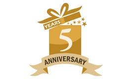 5 Jahre Geschenkbox-Band-Jahrestags- Stockbild