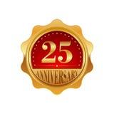 25 Jahre goldener Aufkleber des Jahrestages Stockfoto