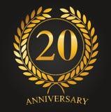 20 Jahre goldener Aufkleber des Jahrestages stock abbildung